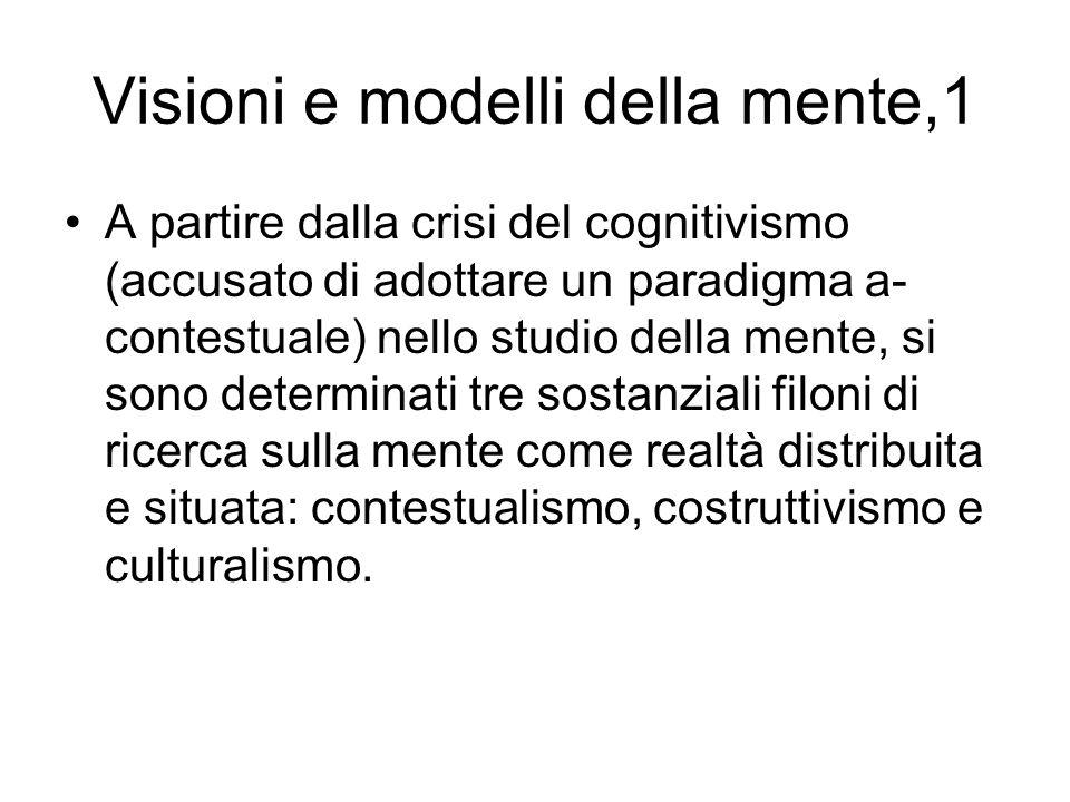 Visioni e modelli della mente,1 A partire dalla crisi del cognitivismo (accusato di adottare un paradigma a- contestuale) nello studio della mente, si
