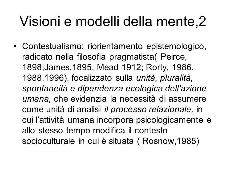 Visioni e modelli della mente,2 Contestualismo: riorientamento epistemologico, radicato nella filosofia pragmatista( Peirce, 1898;James,1895, Mead 191