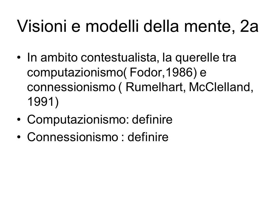 Visioni e modelli della mente, 2a In ambito contestualista, la querelle tra computazionismo( Fodor,1986) e connessionismo ( Rumelhart, McClelland, 199