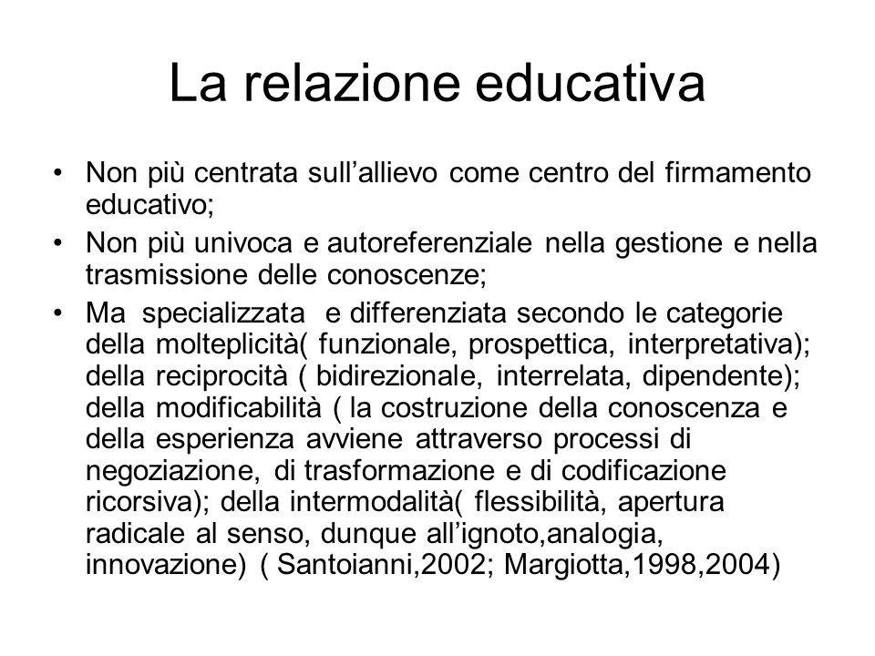 La relazione educativa Non più centrata sull'allievo come centro del firmamento educativo; Non più univoca e autoreferenziale nella gestione e nella t