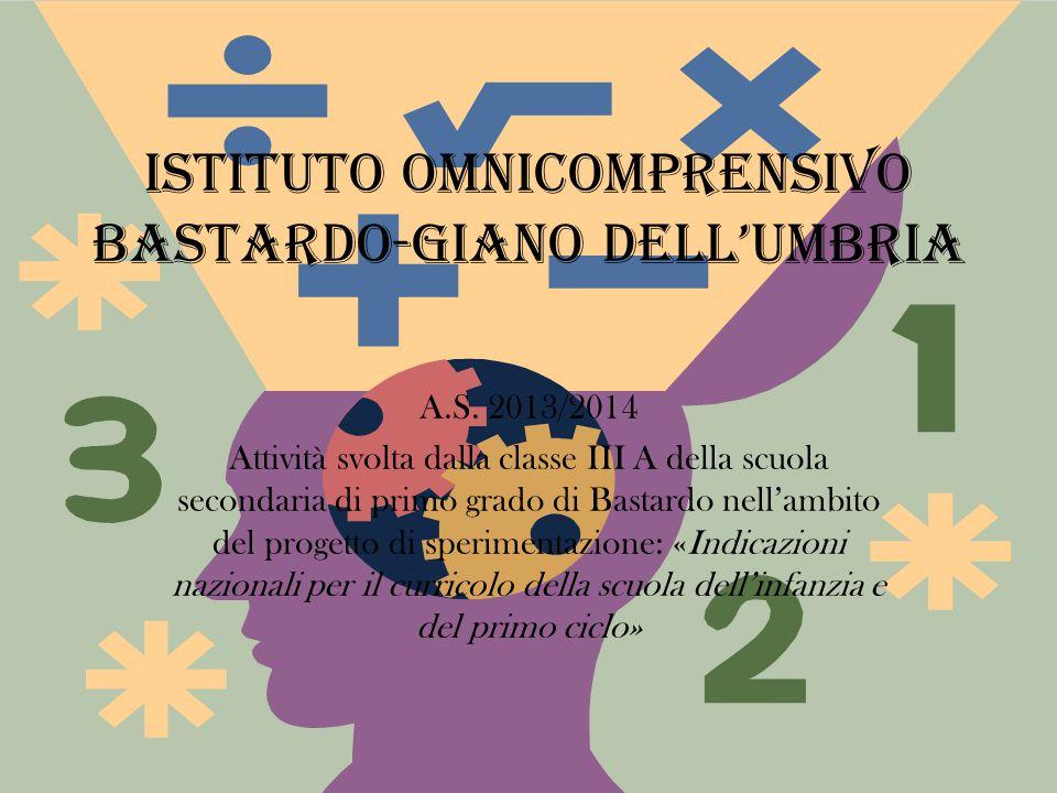 Istituto omnicomprensivo Bastardo-Giano dell'Umbria A.S. 2013/2014 Attività svolta dalla classe III A della scuola secondaria di primo grado di Bastar