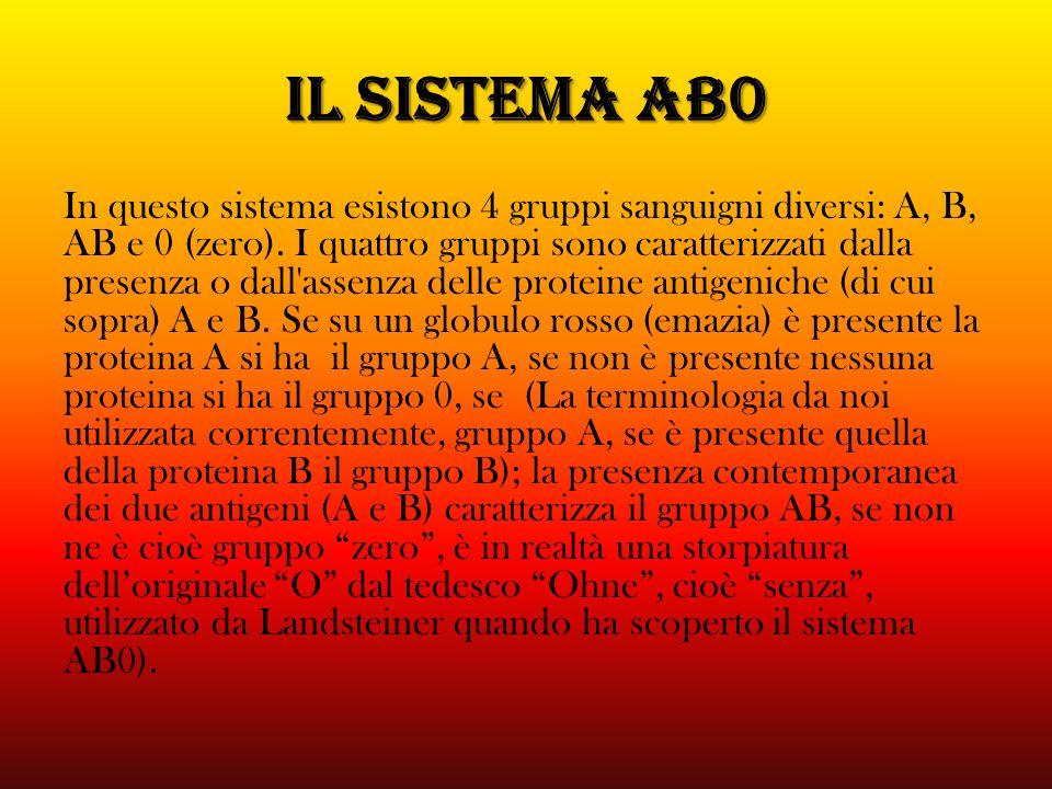 IL SISTEMA AB0 In questo sistema esistono 4 gruppi sanguigni diversi: A, B, AB e 0 (zero). I quattro gruppi sono caratterizzati dalla presenza o dall'