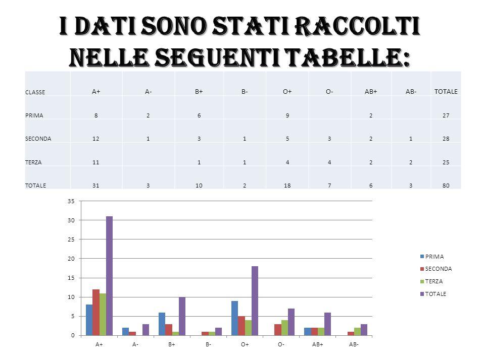 I dati sono stati raccolti nelle seguenti tabelle: CLASSE A+A-B+B-O+O-AB+AB-TOTALE PRIMA826 9 2 27 SECONDA12131532128 TERZA11 11442225 TOTALE313102187