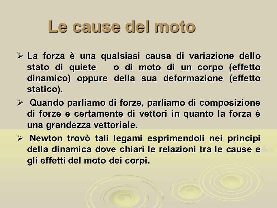 Le cause del moto  La forza è una qualsiasi causa di variazione dello stato di quiete o di moto di un corpo (effetto dinamico) oppure della sua defor