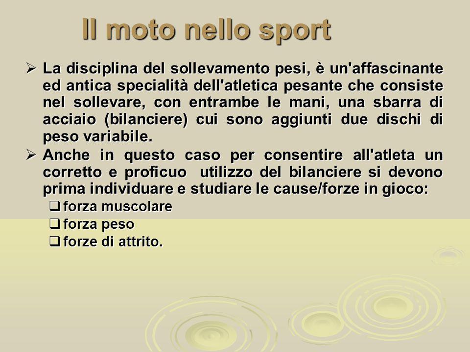 Il moto nello sport  La disciplina del sollevamento pesi, è un'affascinante ed antica specialità dell'atletica pesante che consiste nel sollevare, co