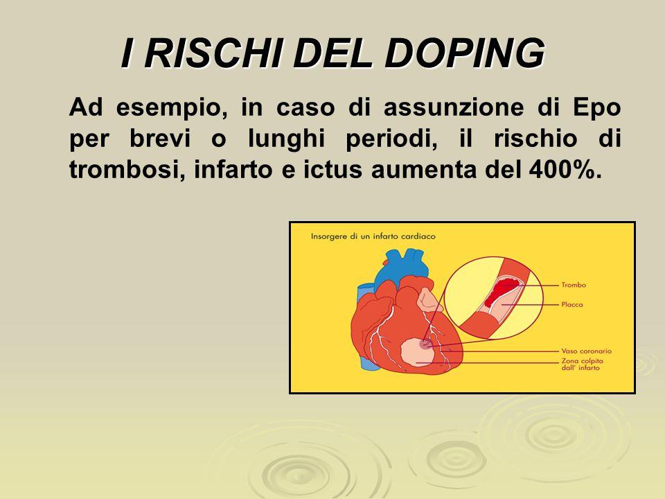 I RISCHI DEL DOPING Ad esempio, in caso di assunzione di Epo per brevi o lunghi periodi, il rischio di trombosi, infarto e ictus aumenta del 400%.