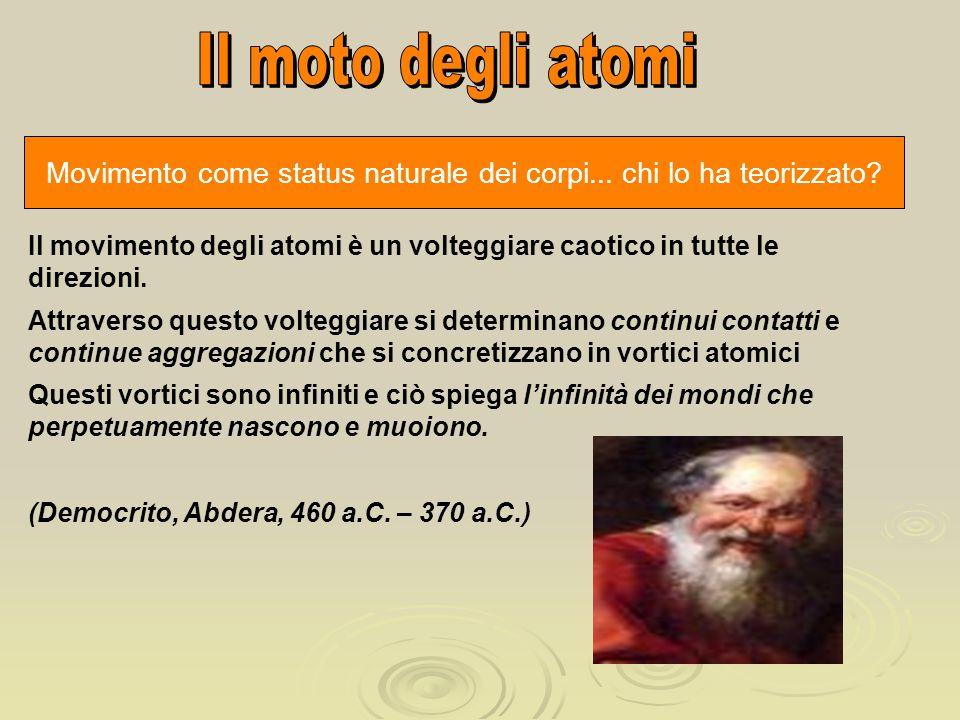 Movimento come status naturale dei corpi... chi lo ha teorizzato? Il movimento degli atomi è un volteggiare caotico in tutte le direzioni. Attraverso