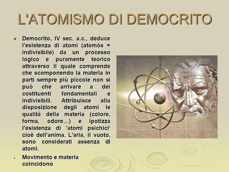 L'ATOMISMO DI DEMOCRITO Democrito, IV sec. a.c., deduce l'esistenza di atomi (atomòs = indivisibile) da un processo logico e puramente teorico attrave