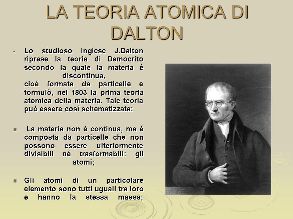 LA TEORIA ATOMICA DI DALTON Lo studioso inglese J.Dalton riprese la teoria di Democrito secondo la quale la materia é discontinua, cioé formata da par