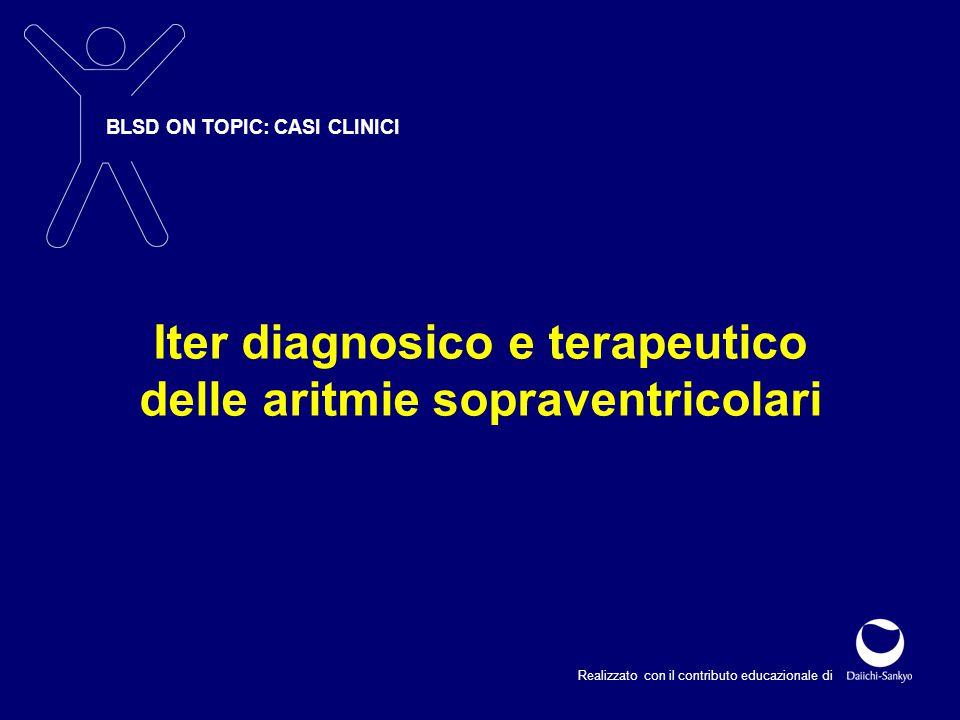 L'ECG documenta una tachicardia 200 bpm a QRS stretto I complessi QRS sono seguiti da onde P di retroconduzione con un lungo intervallo R-P, caratteristico delle tachicardie da via accessoria La presenza di un QRS stretto indica che la tachicardia è di tipo ortodromico (l'impulso viene condotto in senso anterogrado lungo il sistema nodo-hissiano) L'ECG documenta una tachicardia 200 bpm a QRS stretto I complessi QRS sono seguiti da onde P di retroconduzione con un lungo intervallo R-P, caratteristico delle tachicardie da via accessoria La presenza di un QRS stretto indica che la tachicardia è di tipo ortodromico (l'impulso viene condotto in senso anterogrado lungo il sistema nodo-hissiano) Tachicardia da rientro AV ortodromica