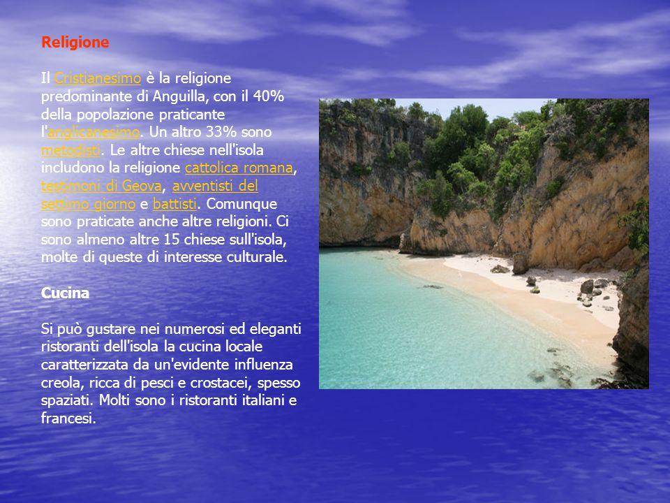 Religione Il Cristianesimo è la religione predominante di Anguilla, con il 40% della popolazione praticante l anglicanesimo.
