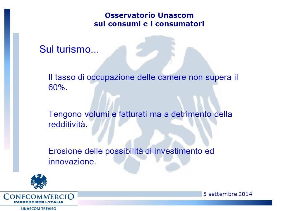 5 settembre 2014 Osservatorio Unascom sui consumi e i consumatori Il tasso di occupazione delle camere non supera il 60%.