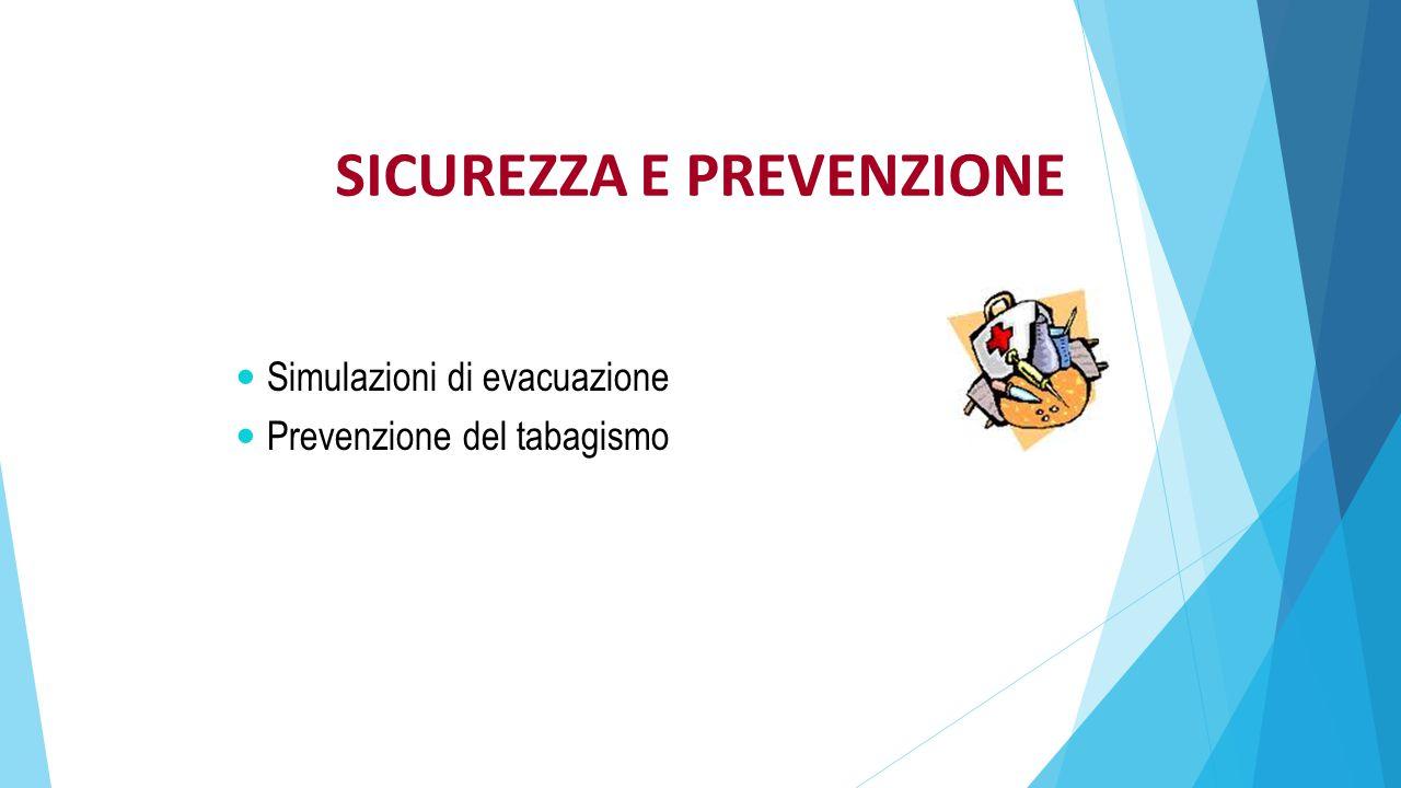 SICUREZZA E PREVENZIONE Simulazioni di evacuazione Prevenzione del tabagismo