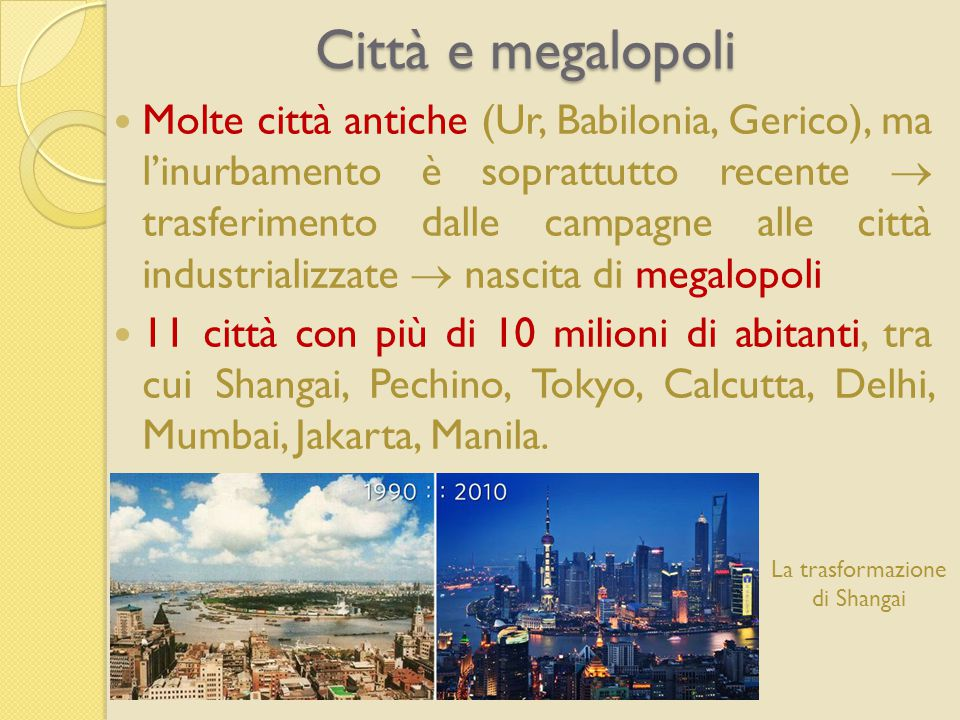 Città e megalopoli Molte città antiche (Ur, Babilonia, Gerico), ma l'inurbamento è soprattutto recente  trasferimento dalle campagne alle città industrializzate  nascita di megalopoli 11 città con più di 10 milioni di abitanti, tra cui Shangai, Pechino, Tokyo, Calcutta, Delhi, Mumbai, Jakarta, Manila.
