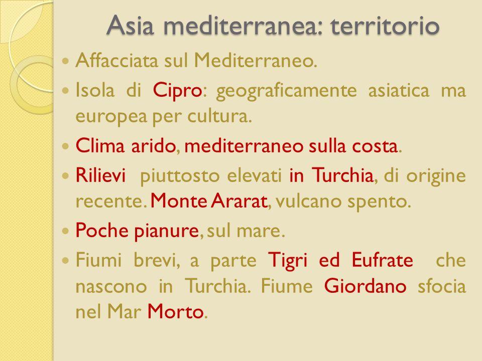 Asia mediterranea: territorio Affacciata sul Mediterraneo. Isola di Cipro: geograficamente asiatica ma europea per cultura. Clima arido, mediterraneo