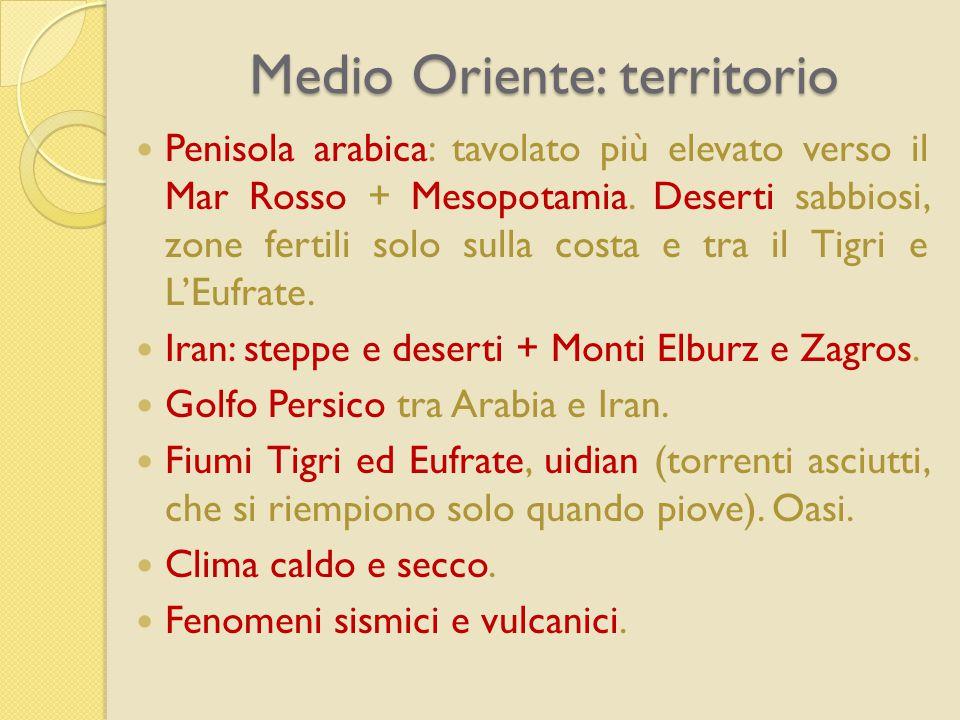 Medio Oriente: territorio Penisola arabica: tavolato più elevato verso il Mar Rosso + Mesopotamia. Deserti sabbiosi, zone fertili solo sulla costa e t