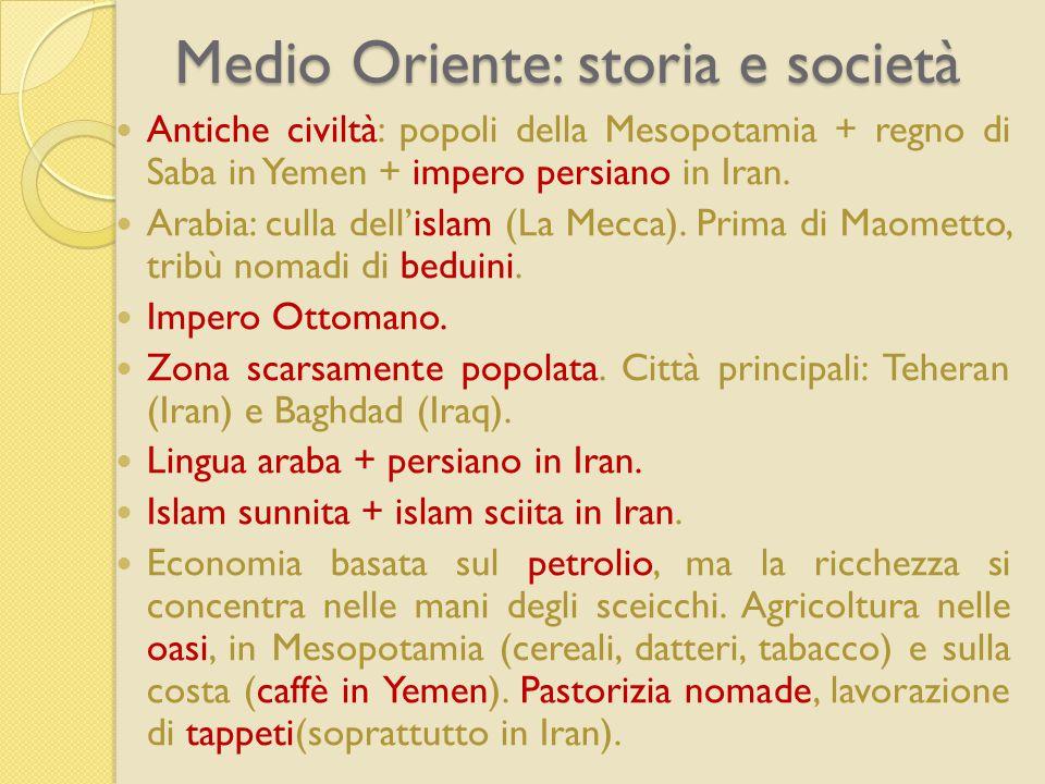 Medio Oriente: storia e società Antiche civiltà: popoli della Mesopotamia + regno di Saba in Yemen + impero persiano in Iran. Arabia: culla dell'islam