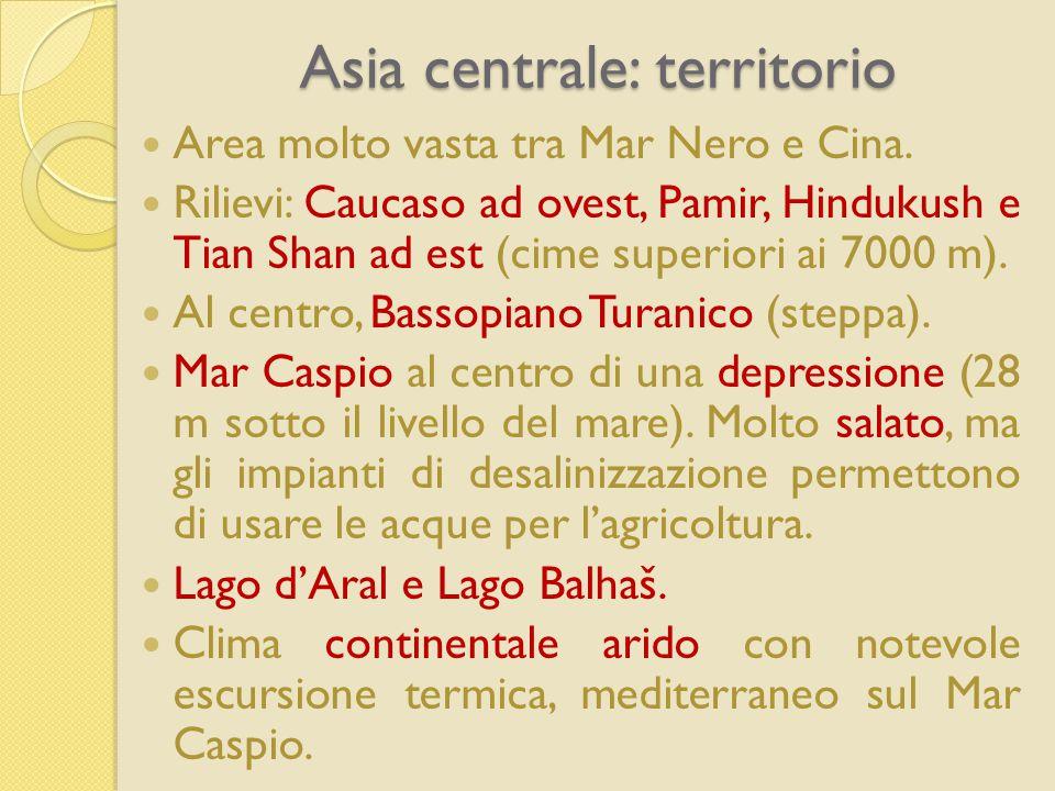 Asia centrale: territorio Area molto vasta tra Mar Nero e Cina. Rilievi: Caucaso ad ovest, Pamir, Hindukush e Tian Shan ad est (cime superiori ai 7000