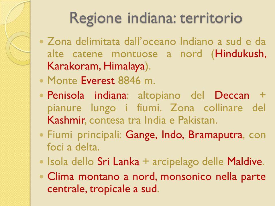 Regione indiana: territorio Zona delimitata dall'oceano Indiano a sud e da alte catene montuose a nord (Hindukush, Karakoram, Himalaya). Monte Everest
