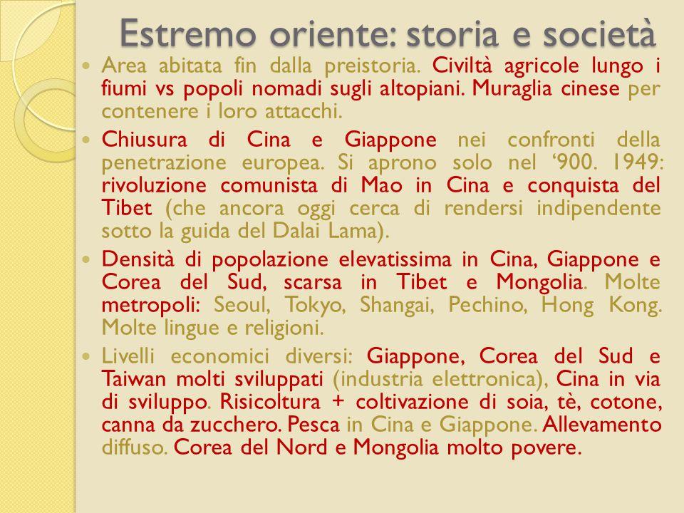Estremo oriente: storia e società Area abitata fin dalla preistoria.