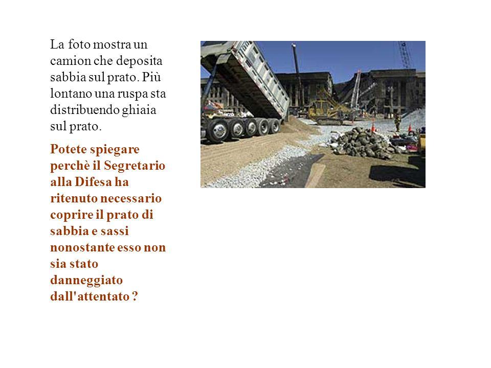 La foto mostra un camion che deposita sabbia sul prato. Più lontano una ruspa sta distribuendo ghiaia sul prato. Potete spiegare perchè il Segretario