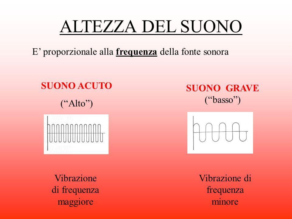 """E' proporzionale alla frequenza della fonte sonora SUONO ACUTO (""""Alto"""") Vibrazione di frequenza maggiore Vibrazione di frequenza minore ALTEZZA DEL SU"""