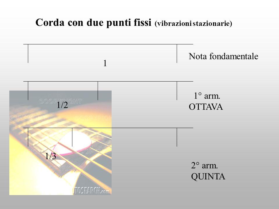 Corda con due punti fissi (vibrazioni stazionarie) Nota fondamentale 1° arm. OTTAVA 2° arm. QUINTA 1/2 1/3 1