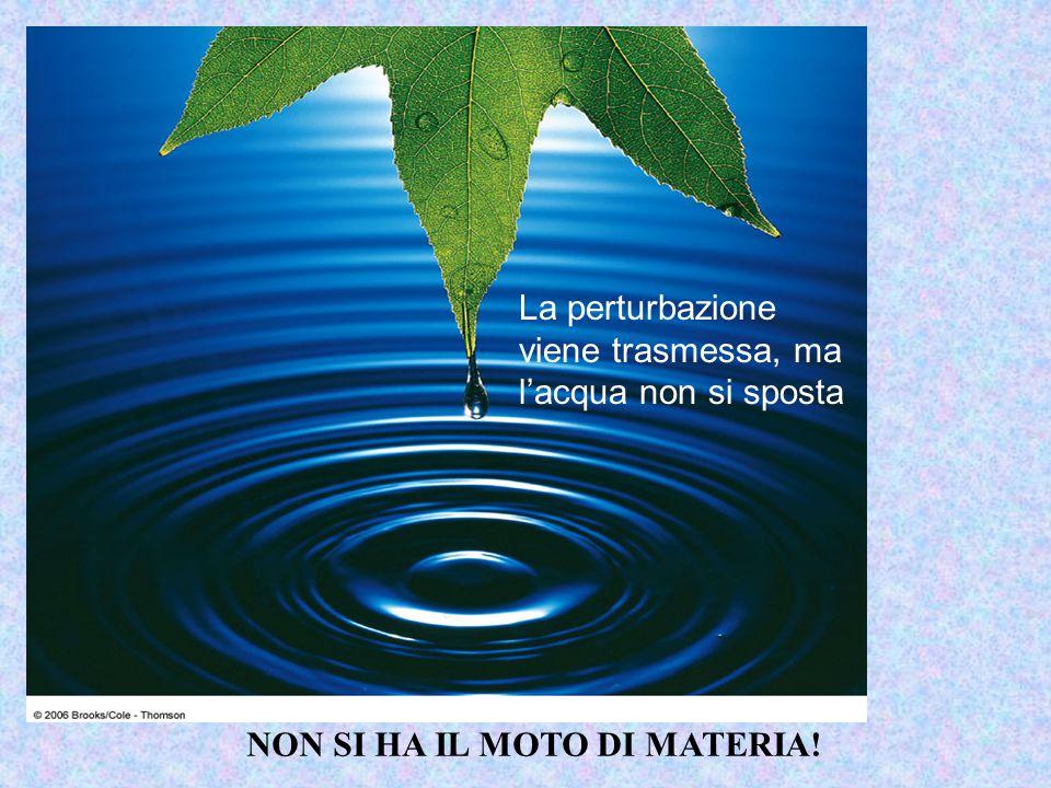 La perturbazione viene trasmessa, ma l'acqua non si sposta NON SI HA IL MOTO DI MATERIA!