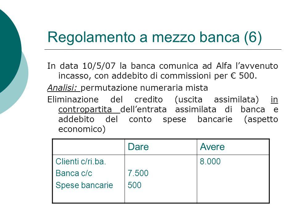 Regolamento a mezzo banca (6) In data 10/5/07 la banca comunica ad Alfa l'avvenuto incasso, con addebito di commissioni per € 500. Analisi: permutazio