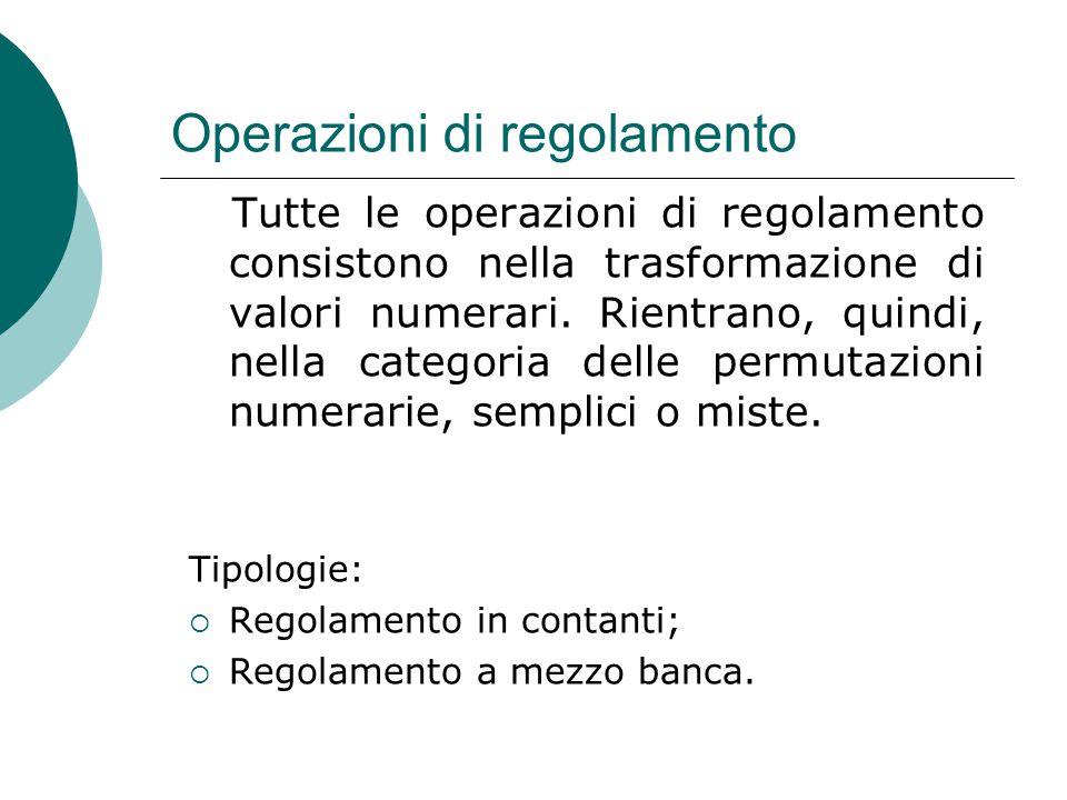 Operazioni di regolamento Tutte le operazioni di regolamento consistono nella trasformazione di valori numerari. Rientrano, quindi, nella categoria de