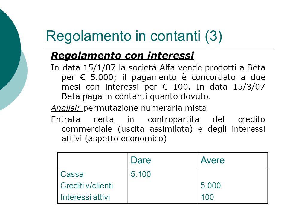 Regolamento in contanti (3) Regolamento con interessi In data 15/1/07 la società Alfa vende prodotti a Beta per € 5.000; il pagamento è concordato a d