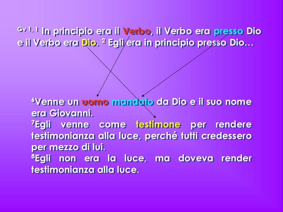 Gv 1, 1 In principio era il Verbo, il Verbo era presso Dio e il Verbo era Dio. 2 Egli era in principio presso Dio… 6 Venne un uomo mandato da Dio e il