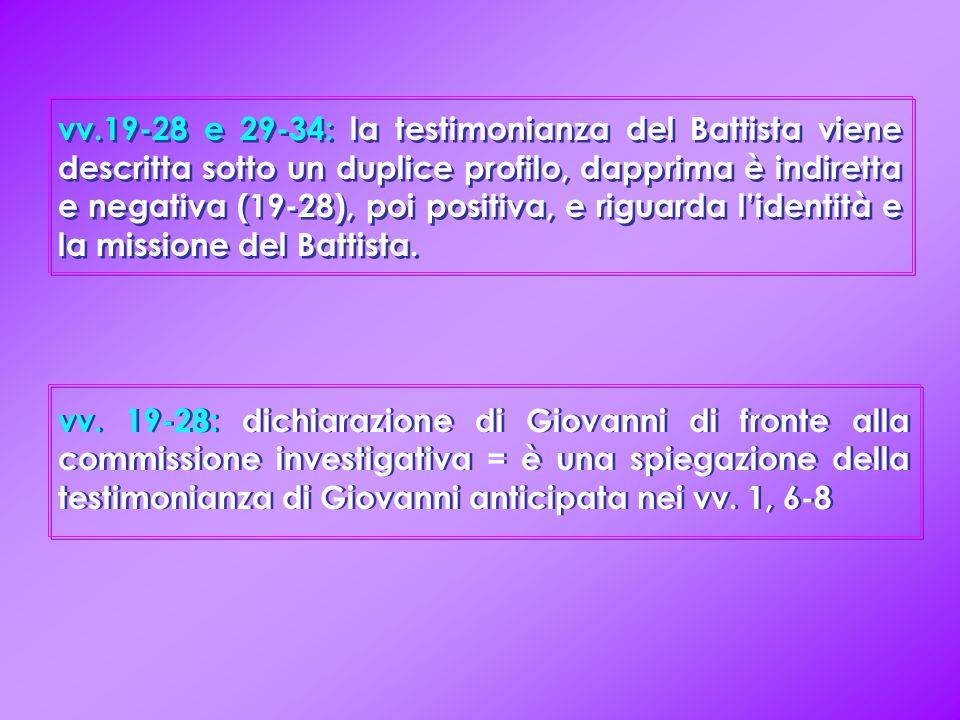 vv. 19-28: dichiarazione di Giovanni di fronte alla commissione investigativa = è una spiegazione della testimonianza di Giovanni anticipata nei vv. 1