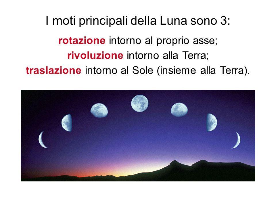 3 I moti principali della Luna sono 3: rotazione intorno al proprio asse; rivoluzione intorno alla Terra; traslazione intorno al Sole (insieme alla Terra).