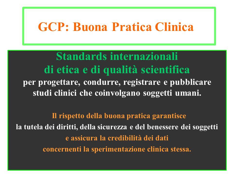 Standards internazionali di etica e di qualità scientifica per progettare, condurre, registrare e pubblicare studi clinici che coinvolgano soggetti um