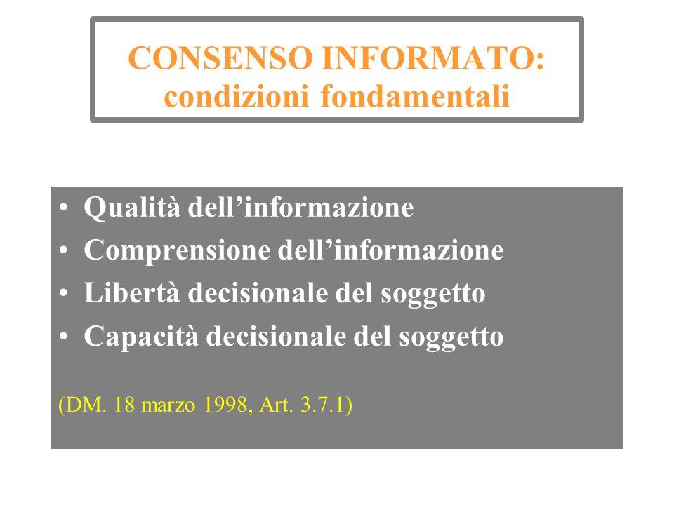 CONSENSO INFORMATO: condizioni fondamentali Qualità dell'informazione Comprensione dell'informazione Libertà decisionale del soggetto Capacità decisio