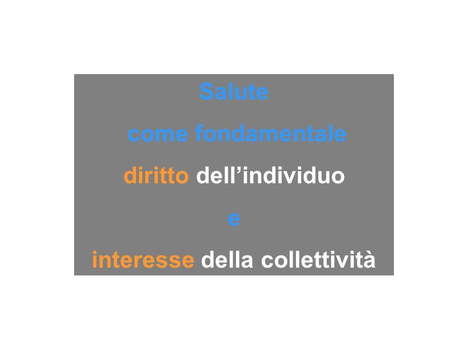 Salute come fondamentale diritto dell'individuo e interesse della collettività