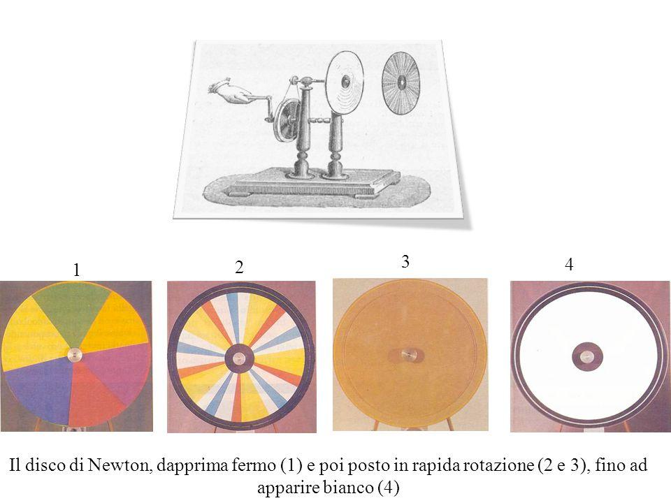 1 2 3 4 Il disco di Newton, dapprima fermo (1) e poi posto in rapida rotazione (2 e 3), fino ad apparire bianco (4)