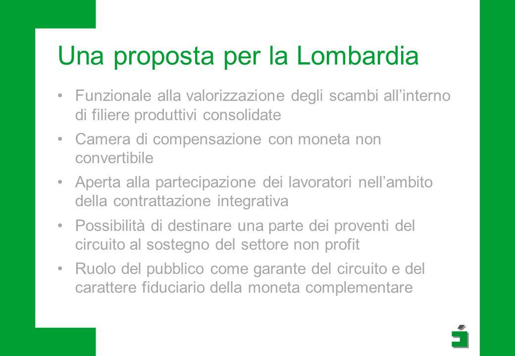 Una proposta per la Lombardia Funzionale alla valorizzazione degli scambi all'interno di filiere produttivi consolidate Camera di compensazione con mo
