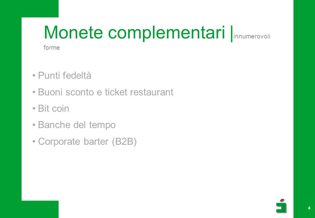 Monete complementari | innumerovoli forme 4 Punti fedeltà Buoni sconto e ticket restaurant Bit coin Banche del tempo Corporate barter (B2B)