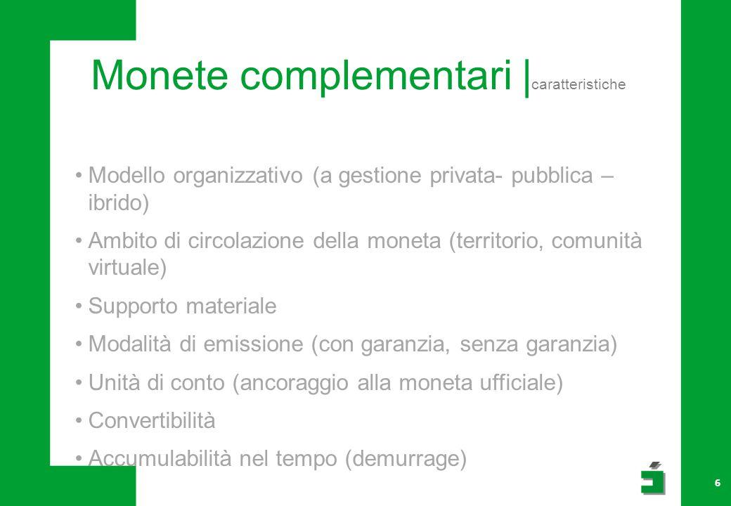 Monete complementari | caratteristiche 6 Modello organizzativo (a gestione privata- pubblica – ibrido) Ambito di circolazione della moneta (territorio