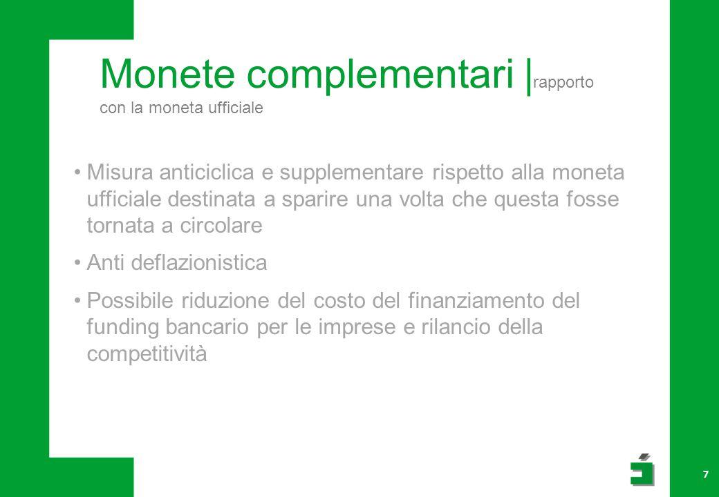 Monete complementari | rapporto con la moneta ufficiale 7 Misura anticiclica e supplementare rispetto alla moneta ufficiale destinata a sparire una vo