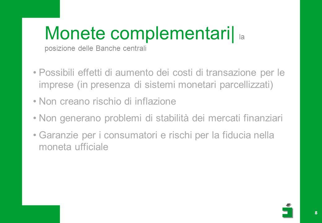 Monete complementari| la posizione delle Banche centrali 8 Possibili effetti di aumento dei costi di transazione per le imprese (in presenza di sistem
