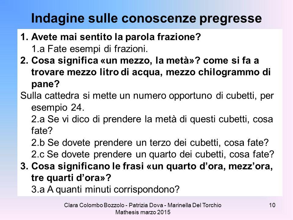 Clara Colombo Bozzolo - Patrizia Dova - Marinella Del Torchio Mathesis marzo 2015 Indagine sulle conoscenze pregresse 1.Avete mai sentito la parola frazione.
