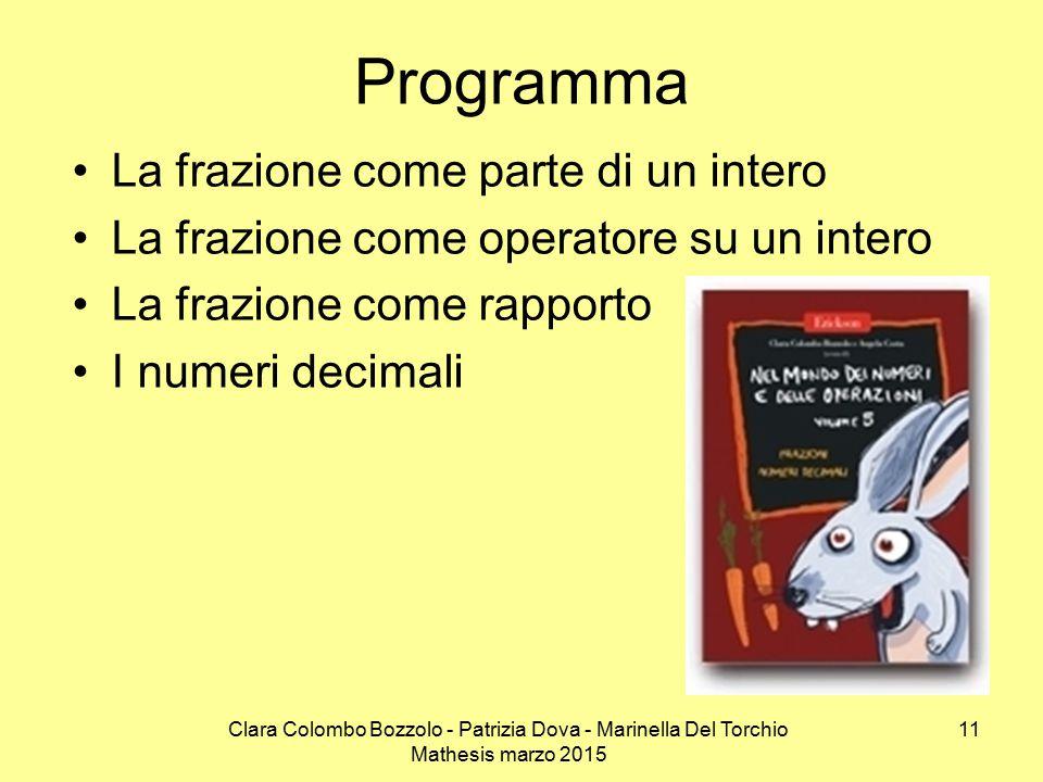 Clara Colombo Bozzolo - Patrizia Dova - Marinella Del Torchio Mathesis marzo 2015 La frazione come parte di un intero La frazione come operatore su un intero La frazione come rapporto I numeri decimali Programma 11