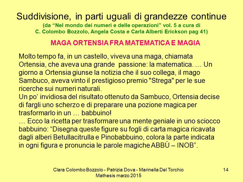 Clara Colombo Bozzolo - Patrizia Dova - Marinella Del Torchio Mathesis marzo 2015 Suddivisione, in parti uguali di grandezze continue (da Nel mondo dei numeri e delle operazioni vol.
