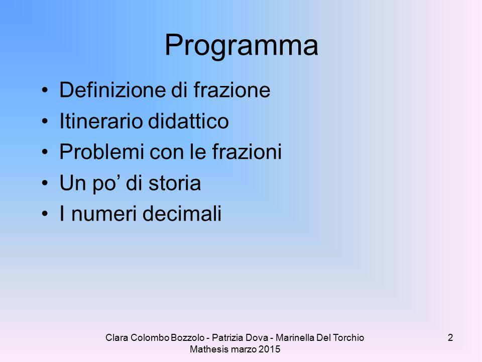 Clara Colombo Bozzolo - Patrizia Dova - Marinella Del Torchio Mathesis marzo 2015 Programma Definizione di frazione Itinerario didattico Problemi con le frazioni Un po' di storia I numeri decimali 2