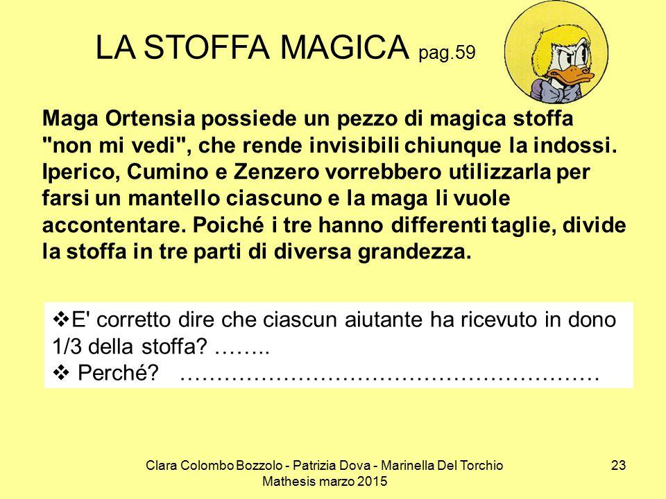 Clara Colombo Bozzolo - Patrizia Dova - Marinella Del Torchio Mathesis marzo 2015 LA STOFFA MAGICA pag.59 Maga Ortensia possiede un pezzo di magica stoffa non mi vedi , che rende invisibili chiunque la indossi.