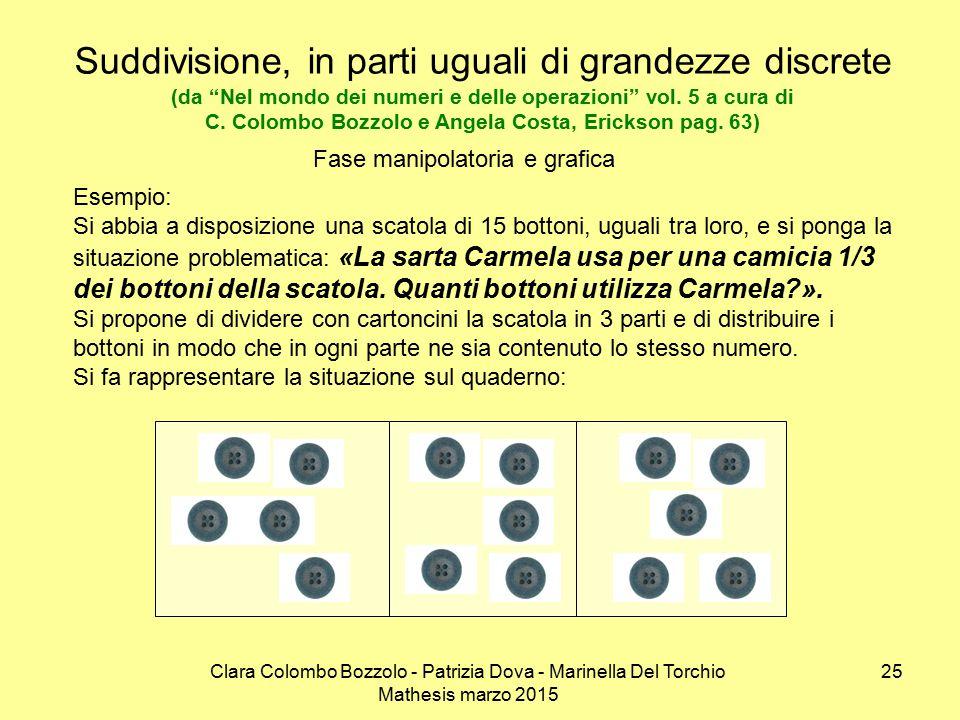"""Clara Colombo Bozzolo - Patrizia Dova - Marinella Del Torchio Mathesis marzo 2015 Suddivisione, in parti uguali di grandezze discrete (da """"Nel mondo d"""