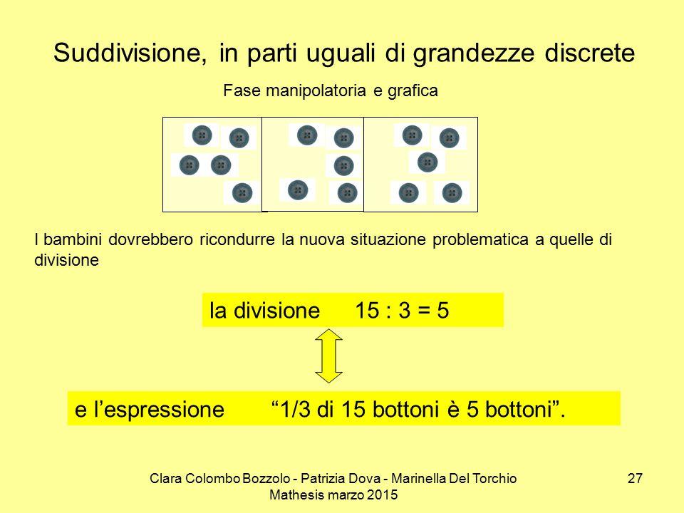 Clara Colombo Bozzolo - Patrizia Dova - Marinella Del Torchio Mathesis marzo 2015 Suddivisione, in parti uguali di grandezze discrete Fase manipolator